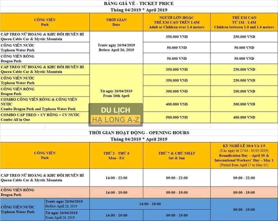 Bảng giá các công viên Sunworld tại Hạ Long