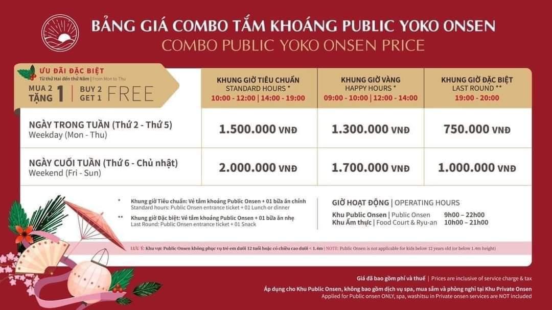 Bảng giá vé tắm khoáng nóng Onsen Quang Hanh 2021