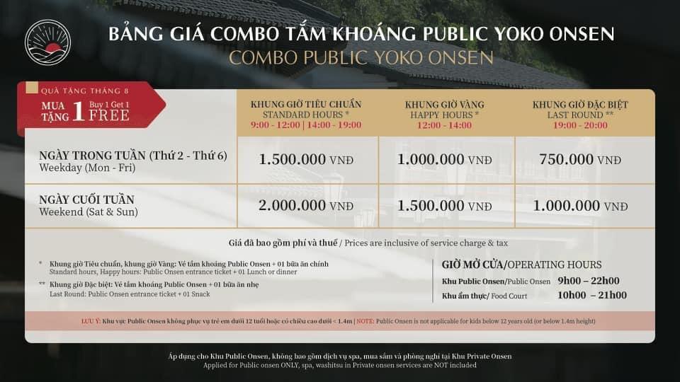 Bảng giá vé tháng 8 Onsen Quang Hanh