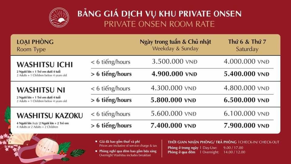 Bảng giá thuê phòng nghỉ Villa Onsen Quang Hanh