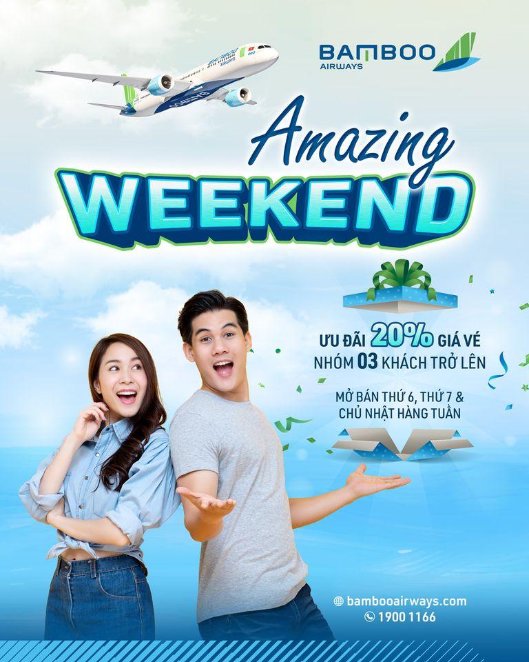 Bamboo AirWays giảm 20% giá vé cho nhóm 3 khách trở lên